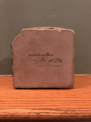 Antique Litho Stone Printing Block Samuel J Lyons Jeweler Philadelphia