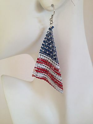 Patriotic USA American Flag Mesh Metal Dangle Earrings Red White Blue 4