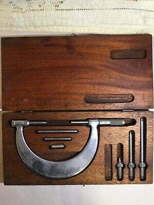 Vintage Tumico Tubular Micrometer Co Micrometer Set M04-5558 Wooden Case