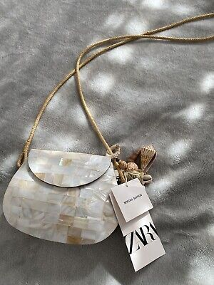Zara Special Edition Mother Of Pearl Abalone Shell Purse Shoulder Bag with Rope