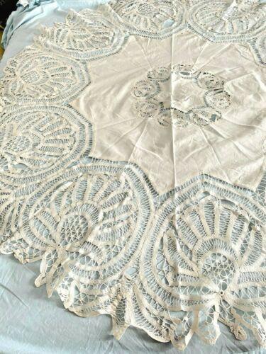 "Antique Victorian Battenberg Lace Large Round Tablecloth 64"""