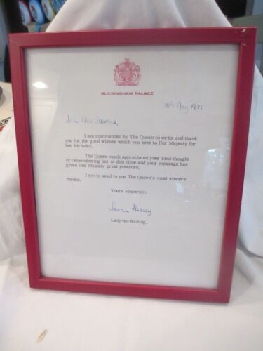 1977 Queen Elizabeth Lady in Waiting Baroness Susan Hussey Signed Letter birthda