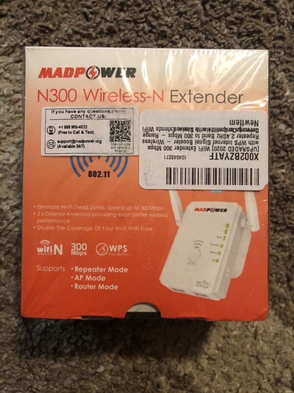 NEW/SEALED 1 Madpower WiFi Extender - 300 Mbps Signal Booster - Model N300