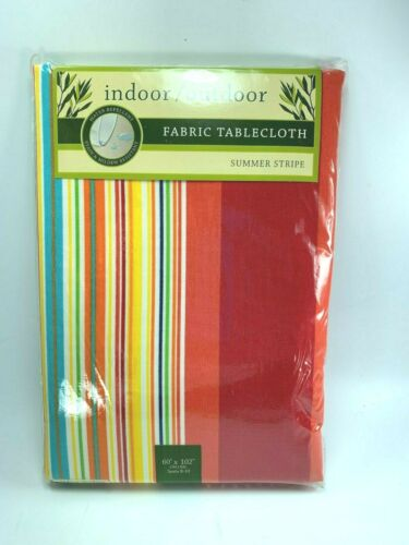 """Indoor Outdoor Fabric Tablecloth Strip Oblong 60 X 102"""" Bright 32068"""