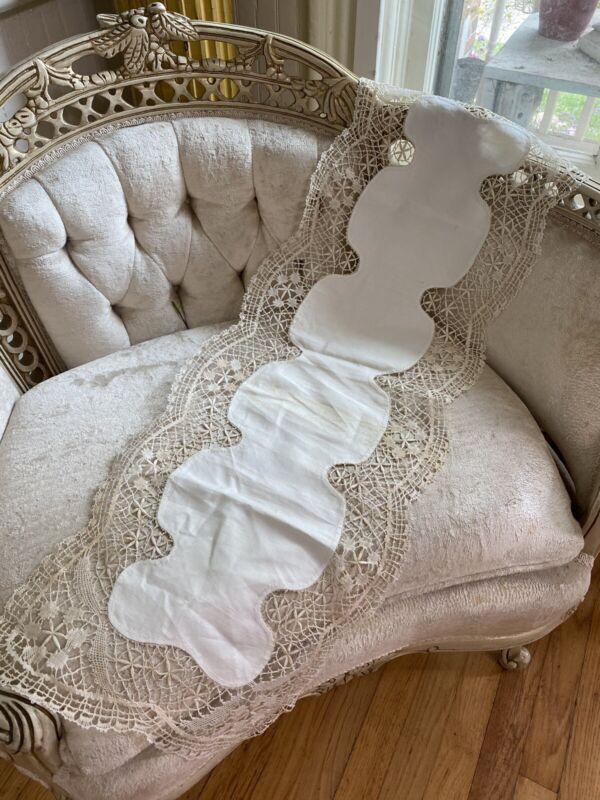 "Antique Irish Linen Ornate Crochet Irish Lace Runner Ecru Trim Hand Sewn 37"""
