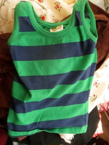 sz 6 True Vtg 70s Boys ELY BLUE/GREEN STRIPE TANK TOP HIPPY T-shirt