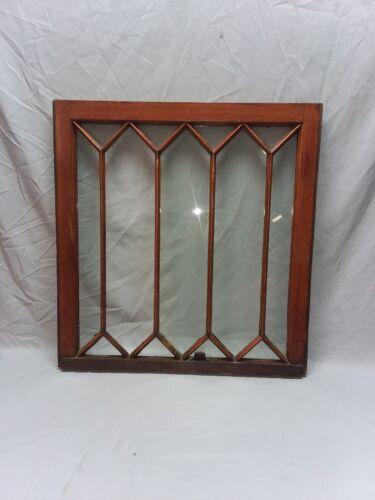 Antique Diamond Window Sash Shabby Tudor Garden Chic 29 x 28 Vtg 118-18F
