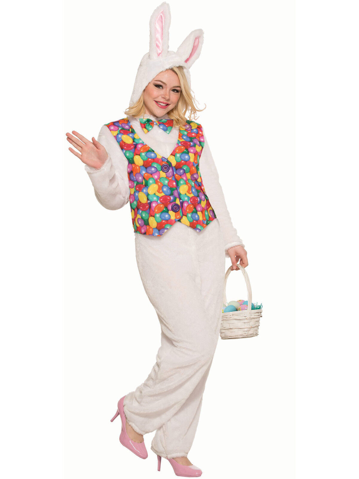 Easter Bunny Jumpsuit with Vest Unisex Adult Costume - Easte