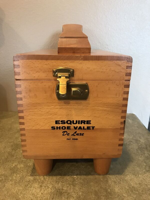 Vintage Wooden Esquire Valet Deluxe Shoe Shine Box