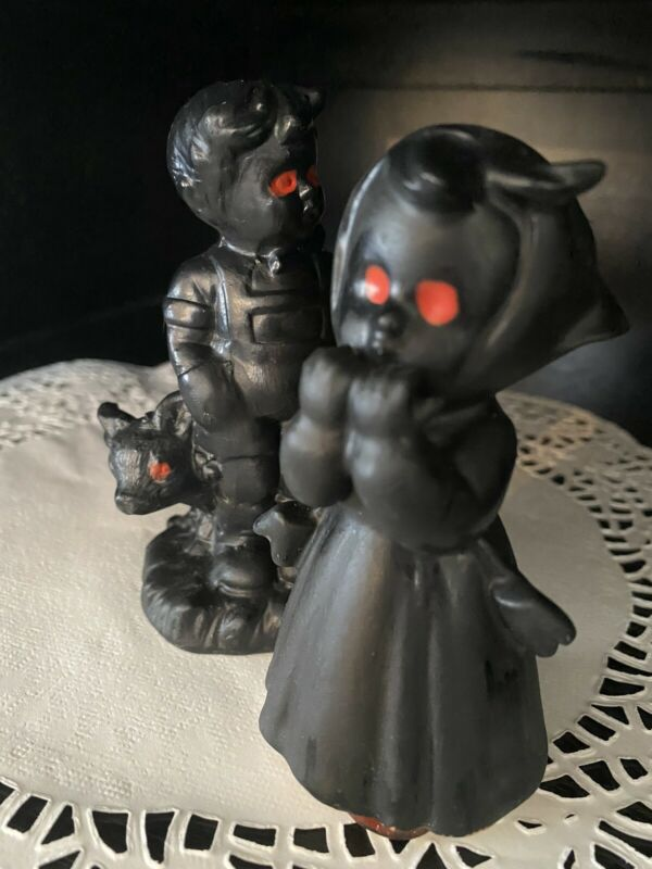 Vintage Halloween Vampire Girl Figurine Bat Wing Red Eye ceramic  Ware wolf Boy