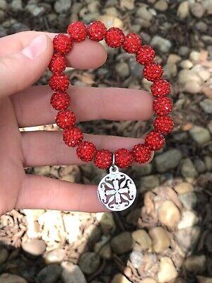 ***Rustic Cuff Red Crystal Stretch Bracelet