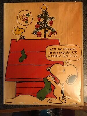 Vintage Snoopy Wall Plaque Art Peanuts Christmas Themed Picture - Peanuts Christmas Movie