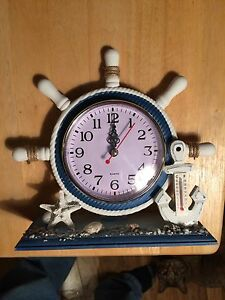 NEW clock and thermometer coastal nautical anchor