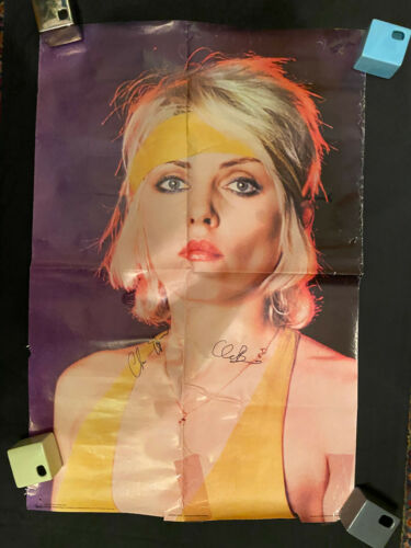 Blondie Debbie Harry poster signed by Clem and Chris lots of damage 1979 Scotlan