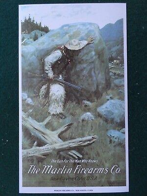 Marlin Firearms Advertising Poster Elk Hunting, Philip R Goodwin artist