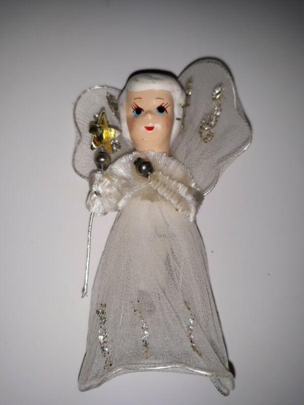 "Vintage White Fairy Princess Christmas Tree Ornament Magic Wand Tulle Dress 3.5"""