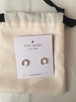Kate Spade 100% Authentic Pave Horseshoe Stud Earrings New with pouch 100% Authe