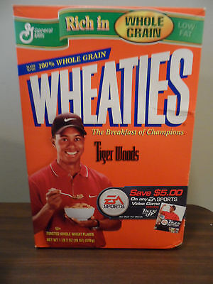 Whole Grain Wheaties Tiger Woods Cereal Box Brand New Never Opened
