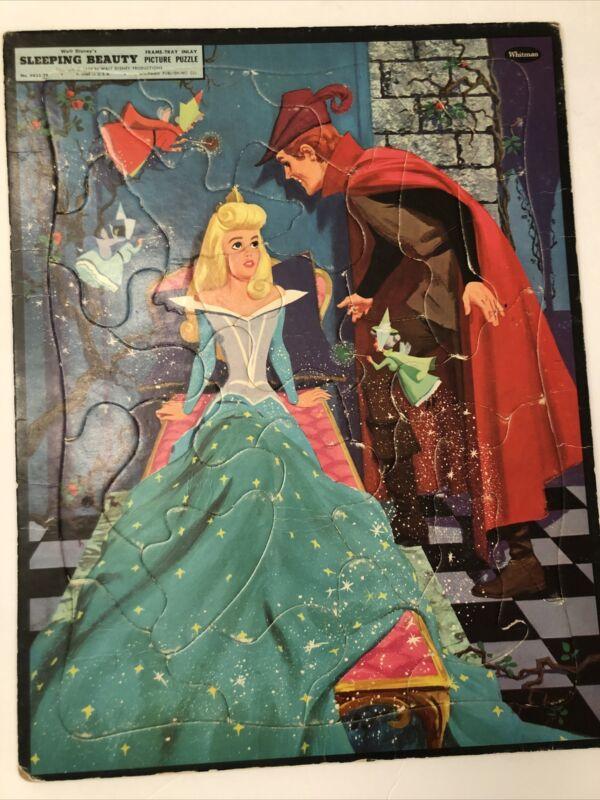 Vintage 1958 Sleeping Beauty Frame Tray Puzzle Walt Disney Productions Whitman