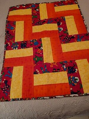Hand Made Spaceman andRocket Quilt for children 2 sided and very Bright 35
