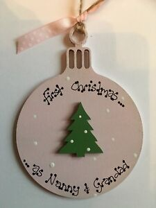 Personalised Wooden Bauble First Christmas As Nanny & Grandad Plaque Gift