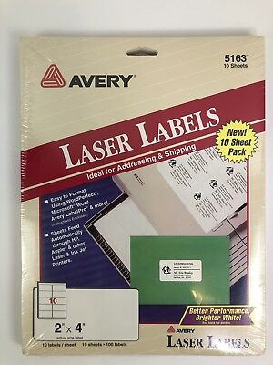 Avery 5163 White Shipping Mailing Labels Laser Trueblock Technology 2 X 4 6pk