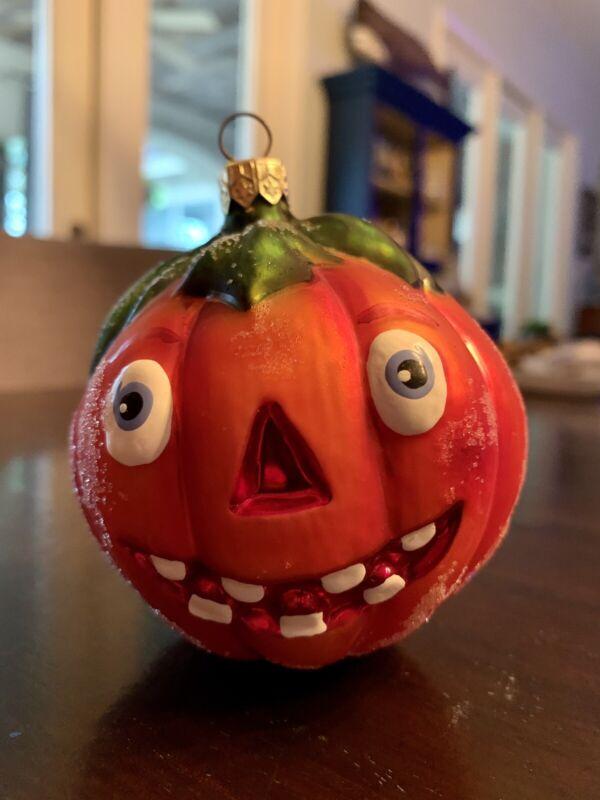 "VTG Christopher Radko 4"" Jack-O-Lantern Pumpkin Halloween Ornament"
