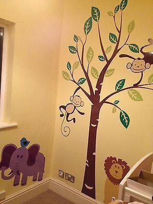 Monkey Tree Birds Wall Stickers Jungle Animal Nursery Children Kids Wall Sticker