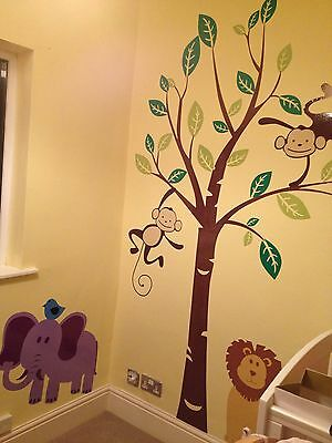 Monkey Tree Birds Wall Stickers Jungle Animal Nursery Children Kids Wall  Sticker Part 69