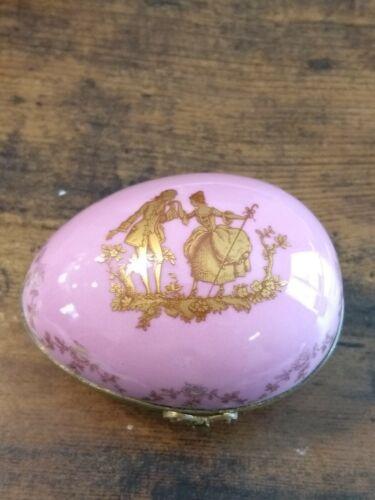 """Vintage Limoges Veritable Porcelaine D""""Art  Hinged Egg Trinket Box Double Stamp"""