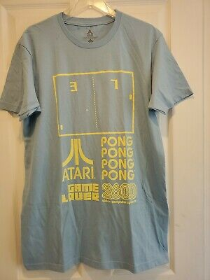 New Atari 2600 Pong Game Lover Mens Large Light Blue Gaming T-Shirt