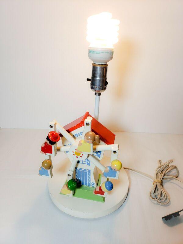 Vintage 1974 Nursery Wooden Ferris Wheel Lamp Musical Box Spinning 6 Children.