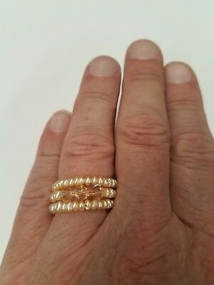 Ladies Freshwater Pearl Peach Colour Adjustable Ring, Orange Crystals Retail $30 (Peach Color Freshwater Pearl)