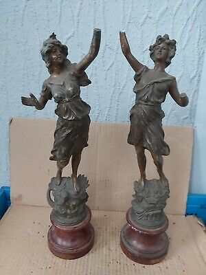 Pair Of Large French Spelter Figurines On Plinths Figures L Air L Eau