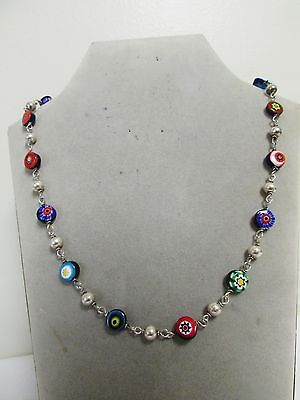 Vintage Sterling Silver Linked 925 Bead Necklace with Venetian Murano Beads