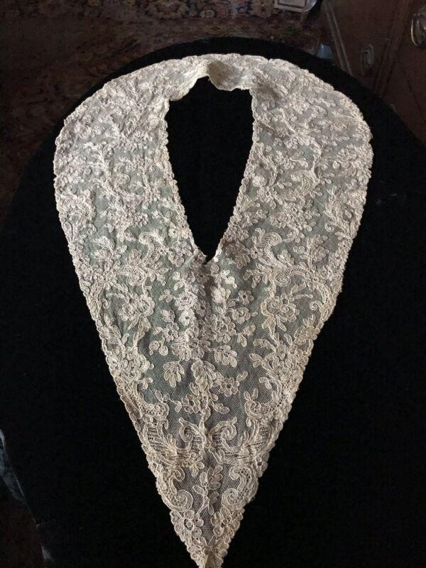 Antique Point De Gaze Brussels Victorian Lace Collar