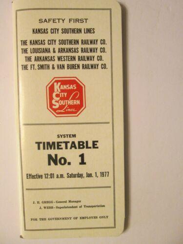 Kansas City Southern System Time Table No. 1 Jan. 1, 1977