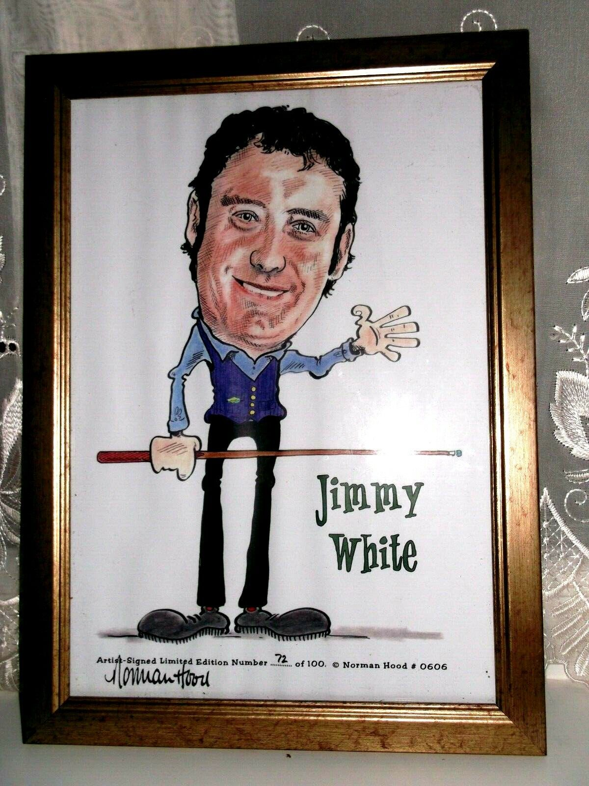JIMMY WHITE CARICATURE LIMITED EDITION PRINT BY NORMAN HOOD  ** FRAMED **