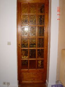 Porte d 39 interieur en bois petits carreaux teint s ebay - Porte interieur a petit carreaux ...