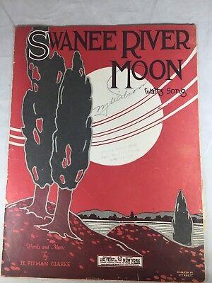 Swanee River Moon Original Sheet Music Waltz Song Vintage 1921 H. Pitman Clarke