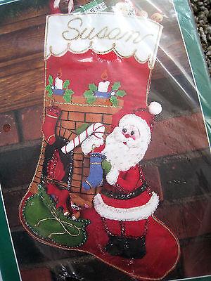Holiday Santa Stocking (Christmas Bucilla Felt Applique Holiday Stocking Kit,FIRESIDE SANTA,32224,18