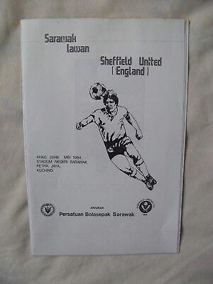 Sheffield United V Sarawak Lawan Programme 1984