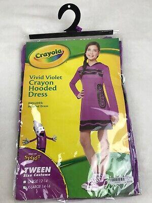 Purple Crayon Halloween Costume (Brand New Crayola XL 14-16 Tween Vivid Violet Crayon Hooded Dress MSRP)