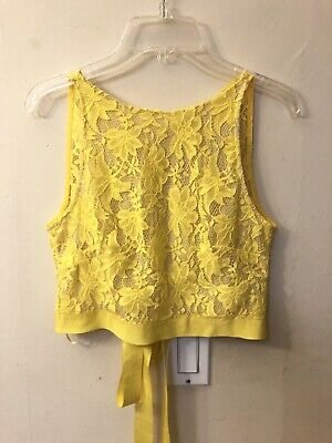 Nwt Zara Yellow Lace Tie Up Crop Top Size S