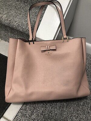 Kate Spade Large Pebbled Leather Soft Pink Tote  with Spade/Bow Accents