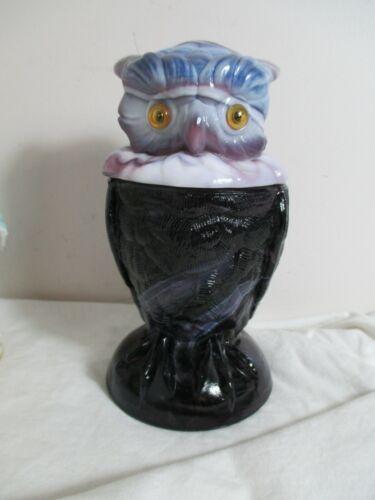 Imperial Amethyst Purple Slag Glass Owl Candy Jar