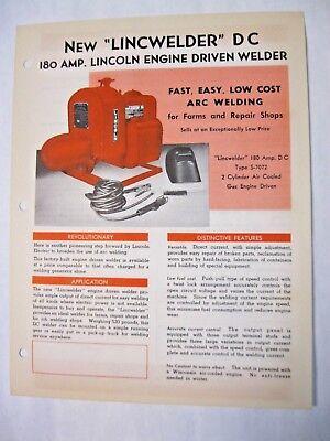 Lincoln 180 Amp. Engine Driven Dc Welder Brochure