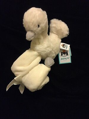 Jellycat Syllabub Swan Blanket Gray White Bashful Soother Comforter Lovey New