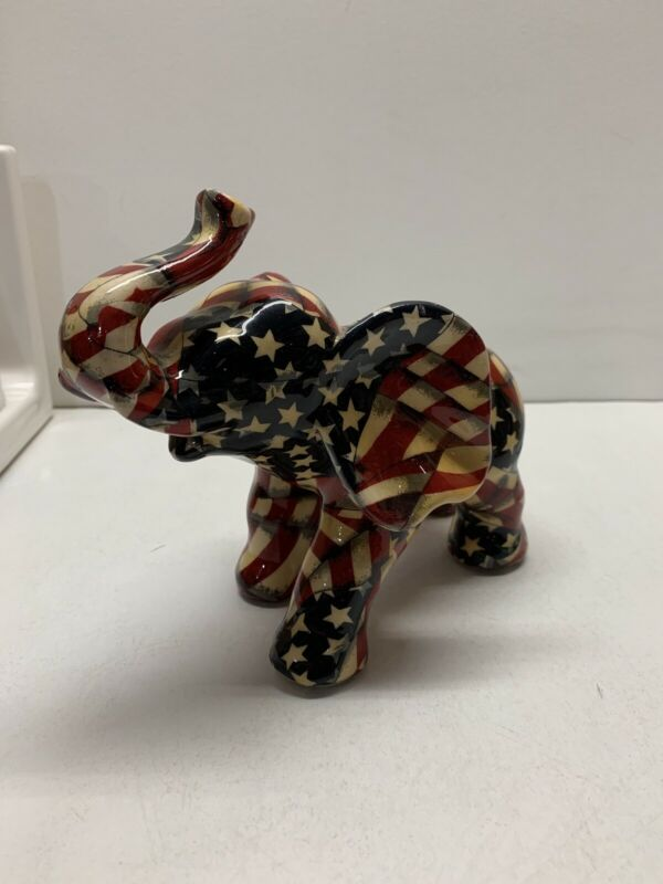 American Flag Elephant. Vintage. Republican. LaVie Figurine Patriotic Colors
