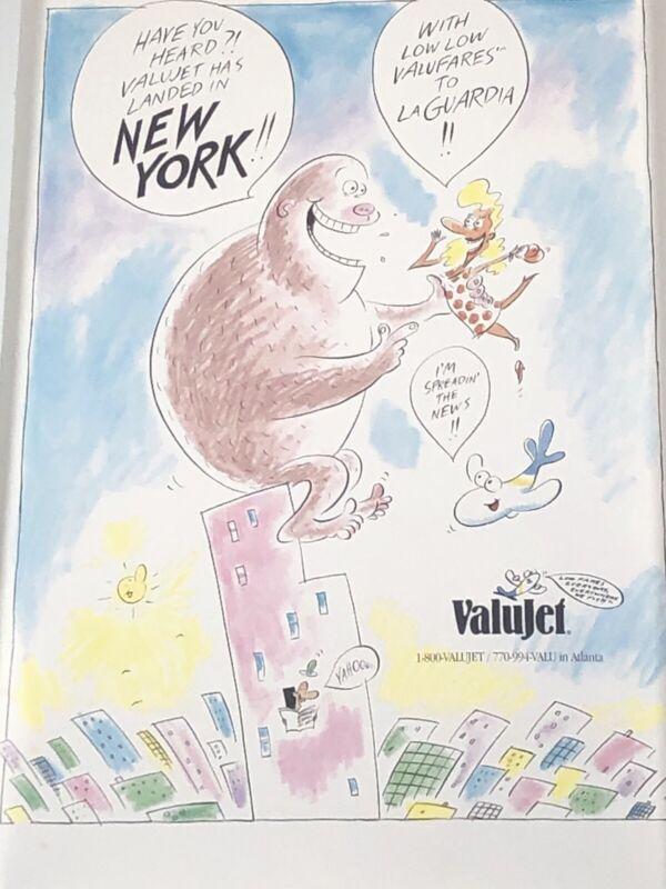 Vintage Valujet Airlines New York La Guardia Cartoon Advertising Poster